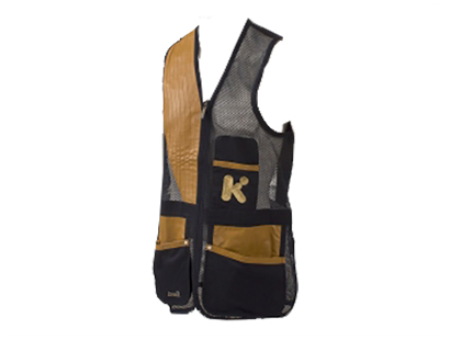 Krieghoff Mesh Shooting Vest by Castellani, Navy Blue, Leather Pad, Left Handed, Old Logo