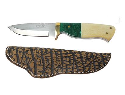 Knife, Mackrill with Giraffe Bone and Malachite Handle
