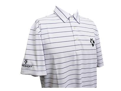 Polo, Eco-Tec Pique, Striped White/Navy