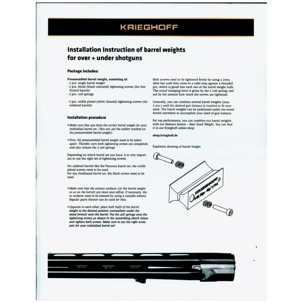 Krieghoff K-80 Barrel Weights