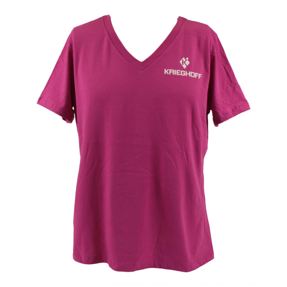 Krieghoff Ladies' V-Neck T-Shirt, Relaxed Fit, Pink