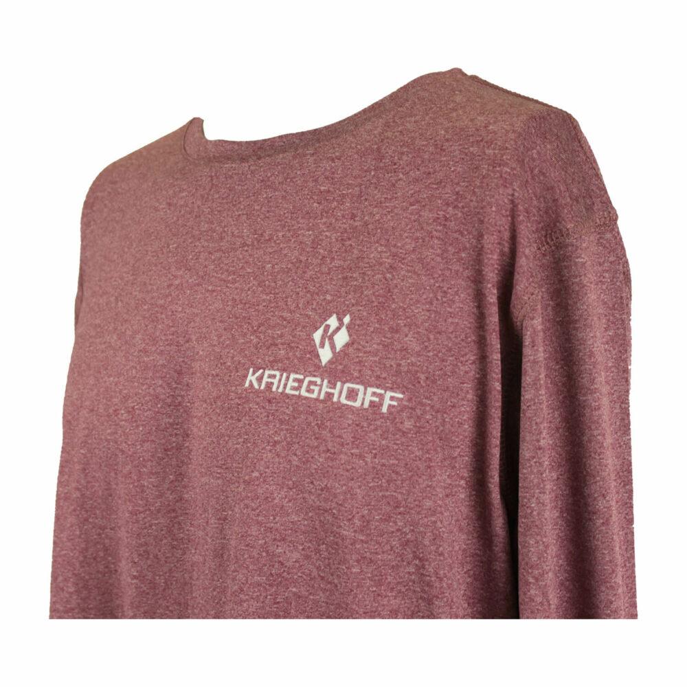 Reebok® Long Sleeve Performance T-Shirt, Heather Maroon