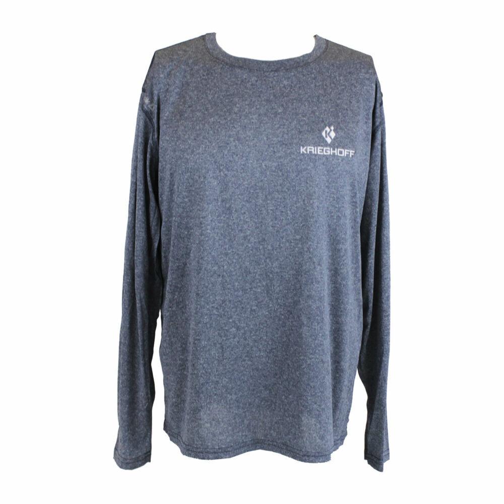 Reebok® Long Sleeve Performance T-Shirt, Heather Navy