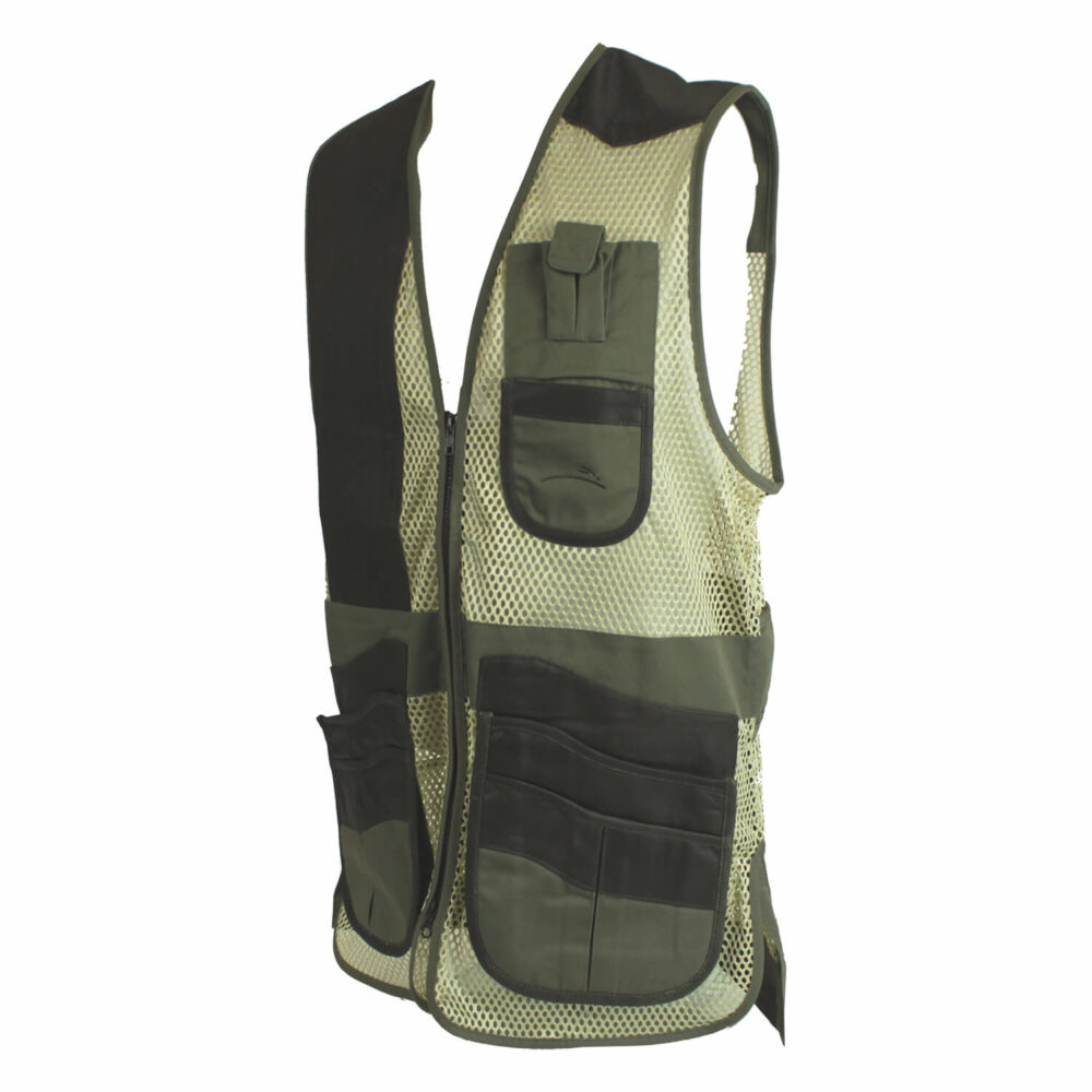 Krieghoff Leather & Mesh Vest by Wild Hare – Right Handed, Sage/Brown